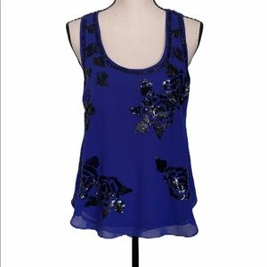 MM COUTURE by MISS ME Blue Sleeveless Tank Top S